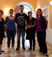 From left: Artist Magda Dimoudi, composers Sophia Skorda and Sakis Anagnostopoulos, exhibition visitor Eri Hytiri and Sasha Chaitow