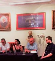 With a panel steeped in the arts. From left: Maria Sourvinou, interpreter, translator, and scholar; George Rouvas, doctor; Sasha Chaitow; Theoklitos Thymis, novelist, poet and collector; Gerasimos Martinis, musicologist